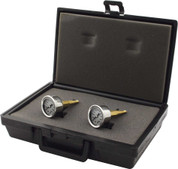 Gauge - Brake Pressure - 0-1000 psi - Mechanical - Analog - Dual Gauges - 10mm-1.50 Thread - White Face - Case Included - Kit
