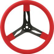 Steering Wheel - 15 in Diameter - 3 Spoke - 3 in Dish Depth - Red Rubber Grip - Steel - Black - Each