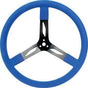 68-0042 - Steering Wheel - 17 in Diameter - 3 Spoke - Steel - Black/Blue - Each