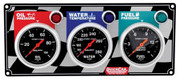 61-0211  -  Gauge Panel Assembly - Auto Meter Sport-Comp - Fuel Pressure/Oil Pressure/Water Temp - Black Face - Warning Light - Kit