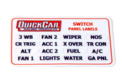 50-004 - Switch Panel Sticker - 16 Various Functions - 5 or Less Switches - Quickcar Switch Panel - Each