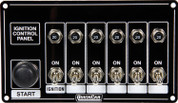 50-868 - Switch Panel - Dash Mount - 6-7/8 in x 4 in - 1 Push-to-Start button - 6 Toggles -20 amp Resetable Circuit Breakers - Aluminum - Each