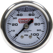 611-90100 - Gauge - Fuel Pressure - Mini - 0-100 psi - Mechanical - Analog - Liquid Filled - 1-1/2 in Diameter - White Face - Each