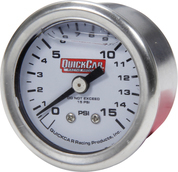 611-9015 - Gauge - Fuel Pressure - Mini - 0-15 psi - Mechanical - Analog - Liquid Filled - 1-1/2 in Diameter - White Face - Each