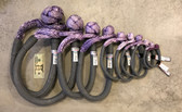Range of ASR Soft Shackle sizes in standard purple with grey guard, with dollar bill for size reference.