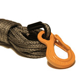 Gray Synthetic Winch Rope with HD Tubular Thimble and HD Excel Hook