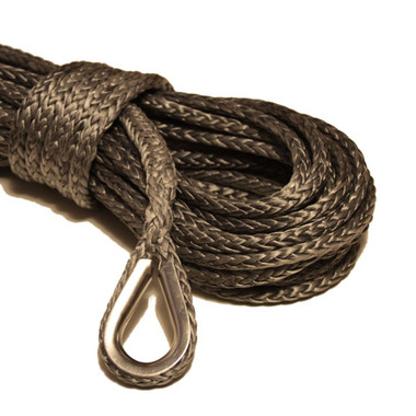 """Gray 1/4"""" Synthetic Winch Rope, with Stainless Steel Thimble Only"""