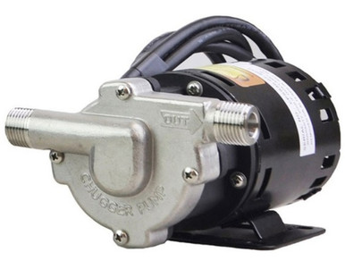 "Chugger Stainless Steel Pump:  420GPH @ 8PSI (maximum head of 18 feet).  ½"" MPT inlet and outlet,110VAC, 1.4A, 1/20HP"