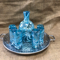 Aqua and White Swirl Tequila Set