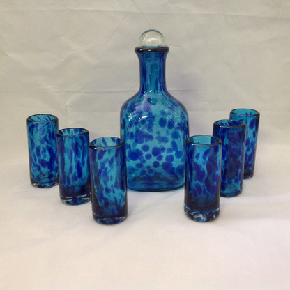 Blue on Blue Tequila Decanter Set