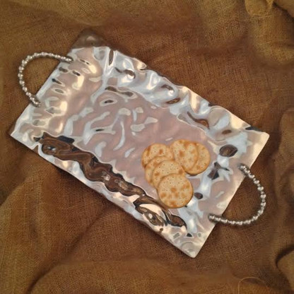 Hammered Tray with Beaded Handles