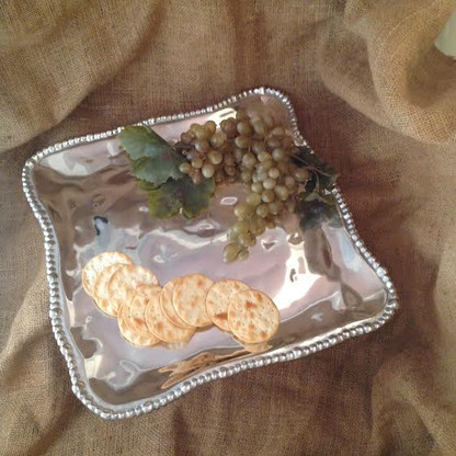 Hammered Beaded Square Tray 14""