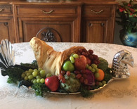 Turkey Tray as a center piece with cornucopia made of bread dough and fruits and vegetables
