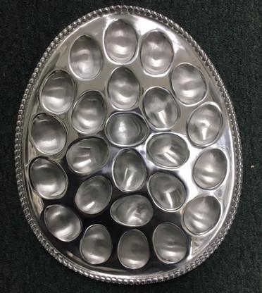 Beaded Egg Shaped Egg Plate holds 24 Eggs