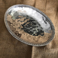 Hammered Beaded Oval Tray