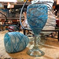 Aqua on Aqua Wine Glass