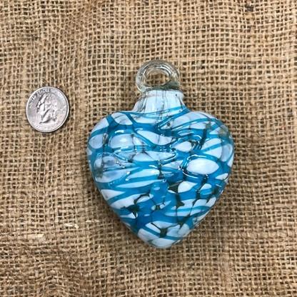 Heart Pintas Blancas with Aqua