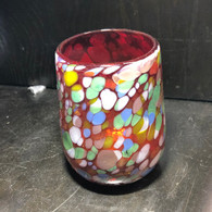 Set of 4 -- Red with Confetti Barrel Glass