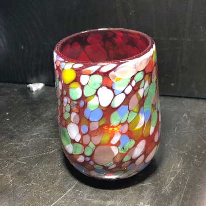 Red with Confetti Barrel Shaped Glass