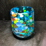 Aqua with Confetti Glass