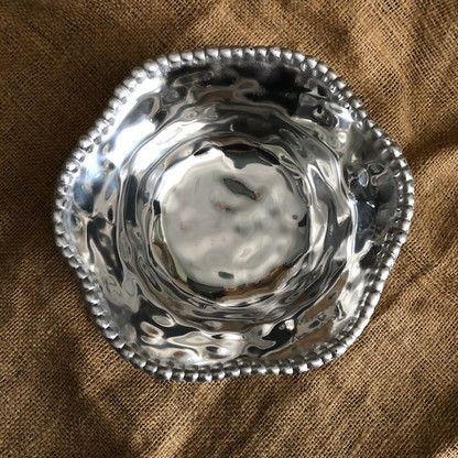 Hammered Beaded Round Medium Sized Bowl