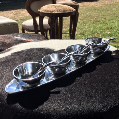 Four Bowls, Four Spoons, and a Tray