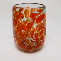 Orange and White Confetti Barrel Shaped Glass