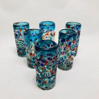 Shot Glasses Set of 6 Bumpy Aqua