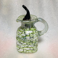 Vinegar Jar with Jalapeno Stopper White and Green