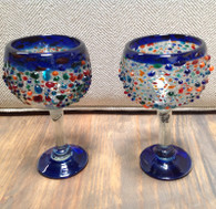 Bumpy Blue Rounded Goblet