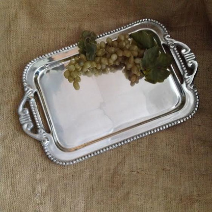 David Handled Beaded Tray Large