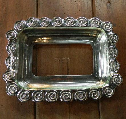 Swirl Pewter Pyrex Holder shown with the glass insert (not included)