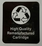 "LAB104, Label "" High Quality Remanufactured Cartridge"" 1-1/4""  Wide x 1-1/2"" High"