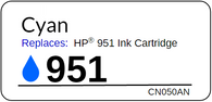 Replacement Label for the HP 951 Cyan Ink Cartridge