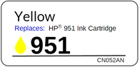 Replacement Label for the HP 951 Yellow Ink Cartridge