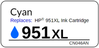 Replacement Label for the HP 951XL Cyan Ink Cartridge