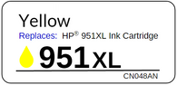 Replacement Label for the HP 951XL Yellow Ink Cartridge