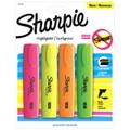 Sharpie Blade Flat Highlighter Asst 4 Color Set: Flourescent Green, Pink, Orange, Yellow - Pen Mountain