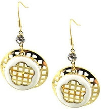 Stainless Steel Two Tone Drop Style Earrings