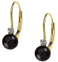 14 Karat Yellow Gold Black Pearl & Diamond Earrings