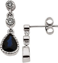 14 Karat White Gold Diamond and Sapphire Earrings