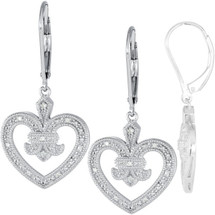 Sterling Silver Fleure-de-Lis 0.072tcw Diamond Leverback Earrings