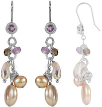 Sterling Silver Freshwater Pearl & Multi-Gemstone Earrings