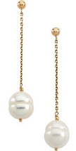 14 Karat Yellow Gold White Pearl Chain Earrings