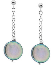 Sterling Silver Black Coin Pearl Drop Earrings
