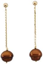 14 Karat Yellow Gold Chocolate Pearl Drop Earrings
