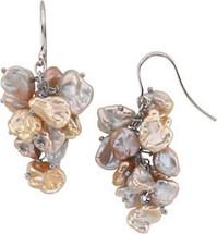 Sterling Silver Keshi Multi-Color Pearl Earrings