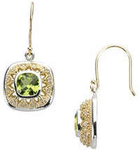 Silver & 14 Karat Gold Diamond & Peridot Earrings