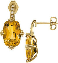 14 Karat Yellow Gold Diamond and Citrine Earrings