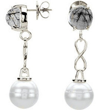 Geniune Sterling Silver Tourmalinated Quartz & White Pearl Drop Earrings